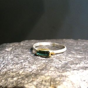 18k yellow solid gold & sterling silver ring.